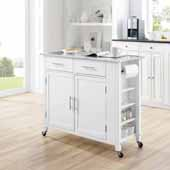 Savannah Full-Size Kitchen Island and Cart with Stainless Steel Top and White Base, 42'' W x 18-1/4'' D x 37'' H