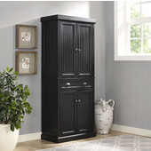 Seaside Kitchen Pantry, Distressed Black Finish, 30''W x 16''D x 72''H