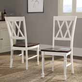 Shelby Dining Chair, White Frame & Rubbed Antique Seat, Set of 2, 17-3/4''W x 23-1/2''D x 39''H