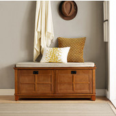 Adler Entryway Bench, Warm Oak Finish, 47-1/4''W x 18''D x 21''H