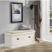 Seaside Entryway Bench, Distressed White Finish, 47-1/4''W x 18''D x 21''H