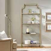 Aimee Steel Étagère, 36''W x 12''D x 80''H, Antique Gold Frame with Glass Shelves