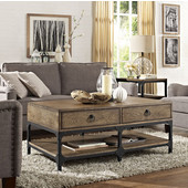 Trenton Coffee Table, 48''W x 28''D x 20''H, Aged Metal Frame and Ash Wood Top
