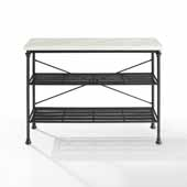 French Industrial Madeleine Console in Matte Black with White Faux Marble Table Top, 48'' W x 15'' D x 36'' H