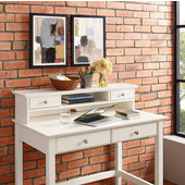 Campbell Writing Desk Hutch, White Finish, 42''W x 10''D x 8-1/2''H