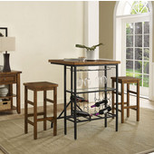Sienna 3-Piece Casual Dining Set, with Table and 2 Stools, Moroccan Pine Finish, 30''W x 33''D x 42-1/4''H