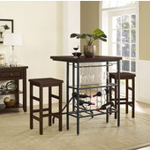 Sienna 3-Piece Casual Dining Set, with Table and 2 Stools, Rustic Mahogany Finish, 30''W x 33''D x 42-1/4''H