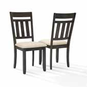 Hayden Modern Farmhouse Set of 2 Dining Chairs in Slate Finish with Crème Linen Upholstered Seats, 17-1/2'' W x 23'' D x 40-1/4'' H