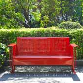 Bates Collection Outdoor Sofa Glider in Red, 65-3/4''W x 28''D x 32-1/2''H