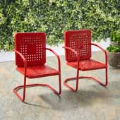Bates Collection Outdoor Chair in Red, Set of Two, 22''W x 22''D x 35''H