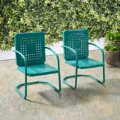 Bates Collection Outdoor Chair in  Turquoise, Set of Two, 22''W x 22''D x 35''H