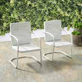 Bates Collection Outdoor Chair in White, Set of Two, 22''W x 22''D x 35''H