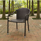 Palm Harbor Outdoor Wicker Stackable Chairs, Set of 4, Brown, 23-3/10''W x 21''D x 32-1/2''H