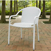 Palm Harbor Outdoor Wicker Stackable Chairs, Set of 4, White, 23-3/10''W x 21''D x 32-1/2''H
