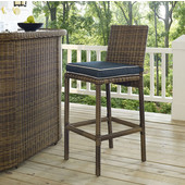 Bradenton Outdoor Wicker Bar Height Stools with Navy Cushions, Set of 2, 21-1/4''W x 17-3/4''D x 43-1/2''H