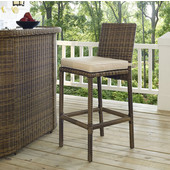 Bradenton Outdoor Wicker Bar Height Stools with Sand Cushions, Set of 2, 21-1/4''W x 17-3/4''D x 43-1/2''H