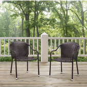 Palm Harbor Outdoor Wicker Stackable Chairs, Brown Finish, Set of 2, 23-3/10''W x 21''D x 32-1/2''H
