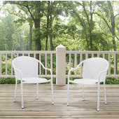 Palm Harbor Outdoor Wicker Stackable Chairs, White Finish, Set of 2, 23-3/10''W x 21''D x 32-1/2''H