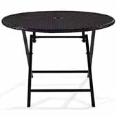 Palm Harbor Outdoor Wicker Folding Table, Brown, 41''Diameter x 29''H