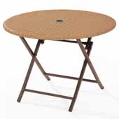 Palm Harbor Outdoor Wicker Folding Table, Light Brown, 41''W x 41''D x 29''H