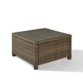 Crosley Bradenton Outdoor Wicker Sectional Glass Top Coffee Table, 40''W x 21''D x 17-3/4''H
