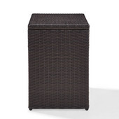 Palm Harbor Outdoor Wicker Rectangular Side Table, 18''W x 20''D x 14''H, Brown Finish