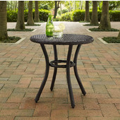 Palm Harbor Outdoor Wicker Round Side Table, Brown Finish, 20''W x 20''D x 20''H