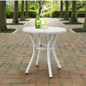 Palm Harbor Outdoor Wicker Round Side Table, White Finish, 20''W x 20''D x 20''H