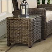 Bradenton Outdoor Wicker Rectangular Side Table, 20''W x 20''D x 21''H, Brown Finish