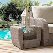 St Augustine Outdoor Wicker Side Table in Weathered White