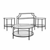 Aimee 4-Piece Art Deco Occasional Sturdy Steel Table Set in Oil Rubbed Bronze