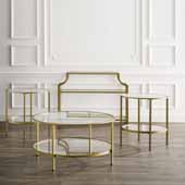 Aimee 4-Piece Art Deco Occasional Sturdy Steel Table Set in Soft Gold