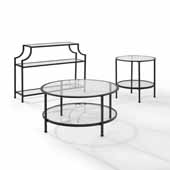 Aimee 3-Piece Art Deco Occasional Sturdy Steel Table Set in Oil Rubbed Bronze