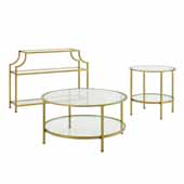 Art Deco Aimee Sturdy Steel 3-Piece Occasional Table Set in Soft Gold