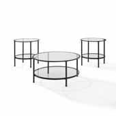 Art Deco Sturdy Steel Aimee 3-Piece Coffee Table Set in Oil Rubbed Bronze