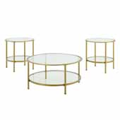 Aimee 3-Piece Art Deco Sturdy Steel Coffee Table Set in Soft Gold