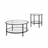 Aimee 2-Piece Art Deco Sturdy Steel Coffee Table Set in Oil Rubbed Bronze
