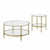 Aimee 2-Piece Art Deco Sturdy Steel Coffee Table Set in Soft Gold
