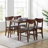 Landon Modern Mid-Century 5-Piece Dining Set in Mahogany with Wood Chairs
