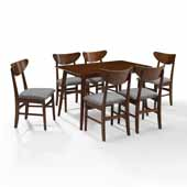 Landon Modern Mid-Century 7-Piece Dining Set in Mahogany with Upholstered Wood Chairs