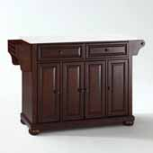 Alexandria White Granite Top Full Size Kitchen Island Cart In Mahogany with Antique Brass Hardware, 52'' W x 18'' D x 34'' H