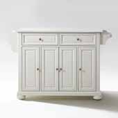 Alexandria White Granite Top Full Size Kitchen Island Cart In White with Brushed Nickel Hardware, 52'' W x 18'' D x 34'' H