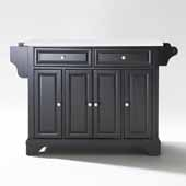 Lafayette White Granite Top Full Size Kitchen Island Cart In Black with Brushed Nickel Hardware, 51-1/2'' W x 18'' D x 36'' H
