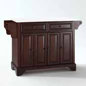 Lafayette White Granite Top Full Size Kitchen Island Cart In Mahogany with Antique Brass Hardware, 51-1/2'' W x 18'' D x 36'' H