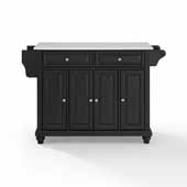 Cambridge White Granite Top Full Size Kitchen Island Cart In Black with Spice Rack and Towel Bar, 51-1/2'' W x 18'' D x 36'' H