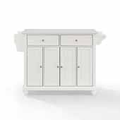 Cambridge White Granite Top Full Size Kitchen Island Cart In White Brushed Nickel Hardware and Spice Rack, 51-1/2'' W x 18'' D x 36'' H