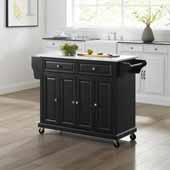 Full Size Granite Top Kitchen Cart In Black with Three Adjustable Shelves and Brushed Nickel Hardware, 51-1/2'' W x 18'' D x 36-1/2'' H