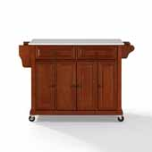 Full Size Granite Top Kitchen Cart In Cherry with Three Adjustable Shelves and Brushed Nickel Hardware, 51-1/2'' W x 18'' D x 36-1/2'' H