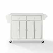 Full Size Granite Top Kitchen Cart In White with Three Adjustable Shelves and Spice Rack, 51-1/2'' W x 18'' D x 36-1/2'' H