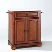 Alexandria Granite Top Portable Kitchen Island Cart In Cherry, 31'' W x 18'' D x 33-1/2'' H